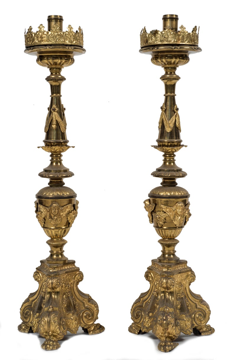 Baroque Revival Antique Pair of Candlesticks, Italy, 18th Century For Sale