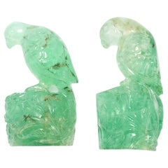 Antique Pair of Carved Emerald Parrots