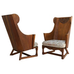 Antique Pair of Carved Oak Lounge Wingback Chairs Jamestown Lounge Co.
