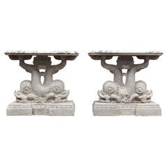 Antique Pair of Carved Wooden Dolphin Tables with Marble Tops