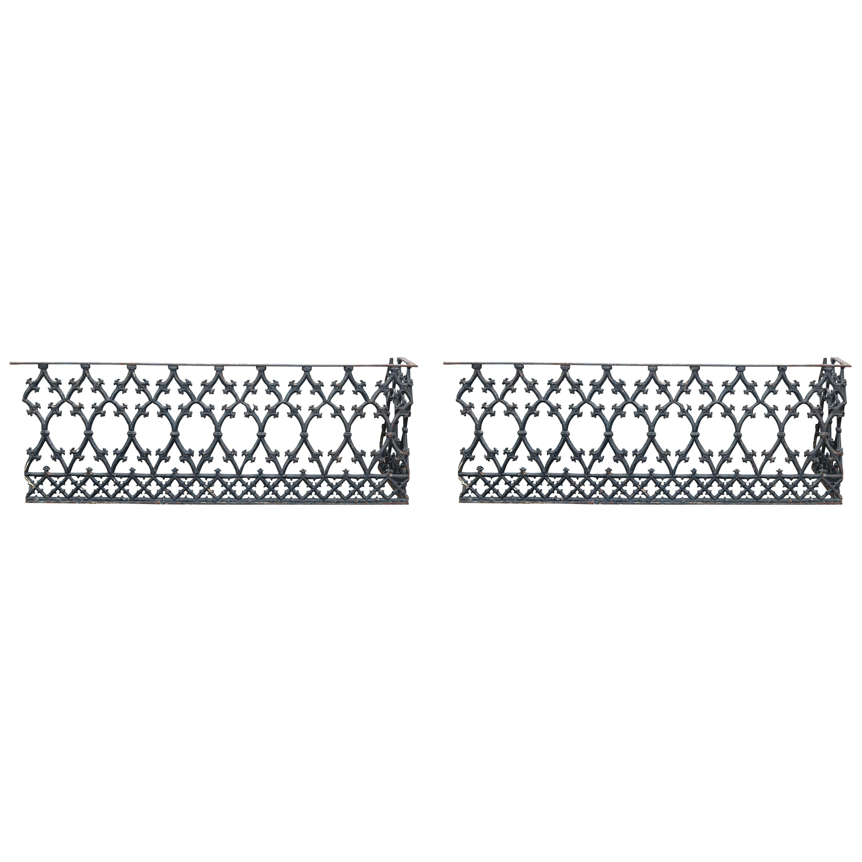 Antique Pair of Cast Iron Balcony-Fence Corners, 19th Century