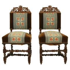 Antique Pair of Chairs, Carved Oak, Barley Twist, Upholstered, Scotland 1870