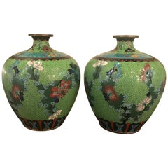 Antique Pair of Chinese Bulbous Vases