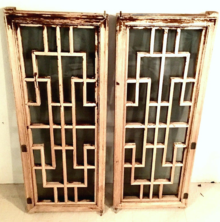 Antique Pair Of Chinese Carved Mahogany and Smoke Glass Windows In Good Condition For Sale In West Palm Beach, FL