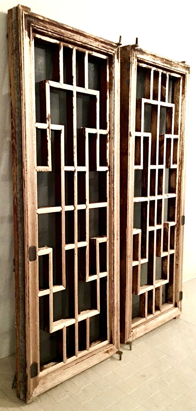 20th Century Antique Pair Of Chinese Carved Mahogany and Smoke Glass Windows For Sale