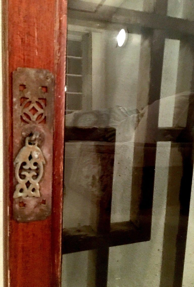 Antique Pair Of Chinese Carved Mahogany and Smoke Glass Windows For Sale 1