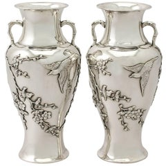 Antique Pair of Chinese Export Silver Vases