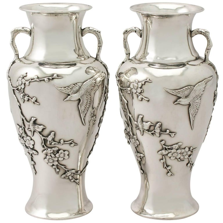 Antique Pair of Chinese Export Silver Vases For Sale