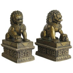 Antique Pair of Chinese Foo Dogs Gilded Stone with Fine Detail Qing 19th Century