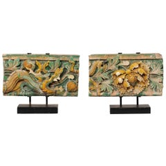 Antique Pair of Chinese Glazed Terracotta Temple Fragments on Custom Stands