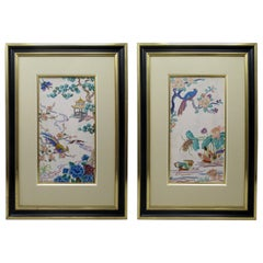 Antique Pair of Chinese Hand Embroidered Silk Pictures Panels Irish Interest