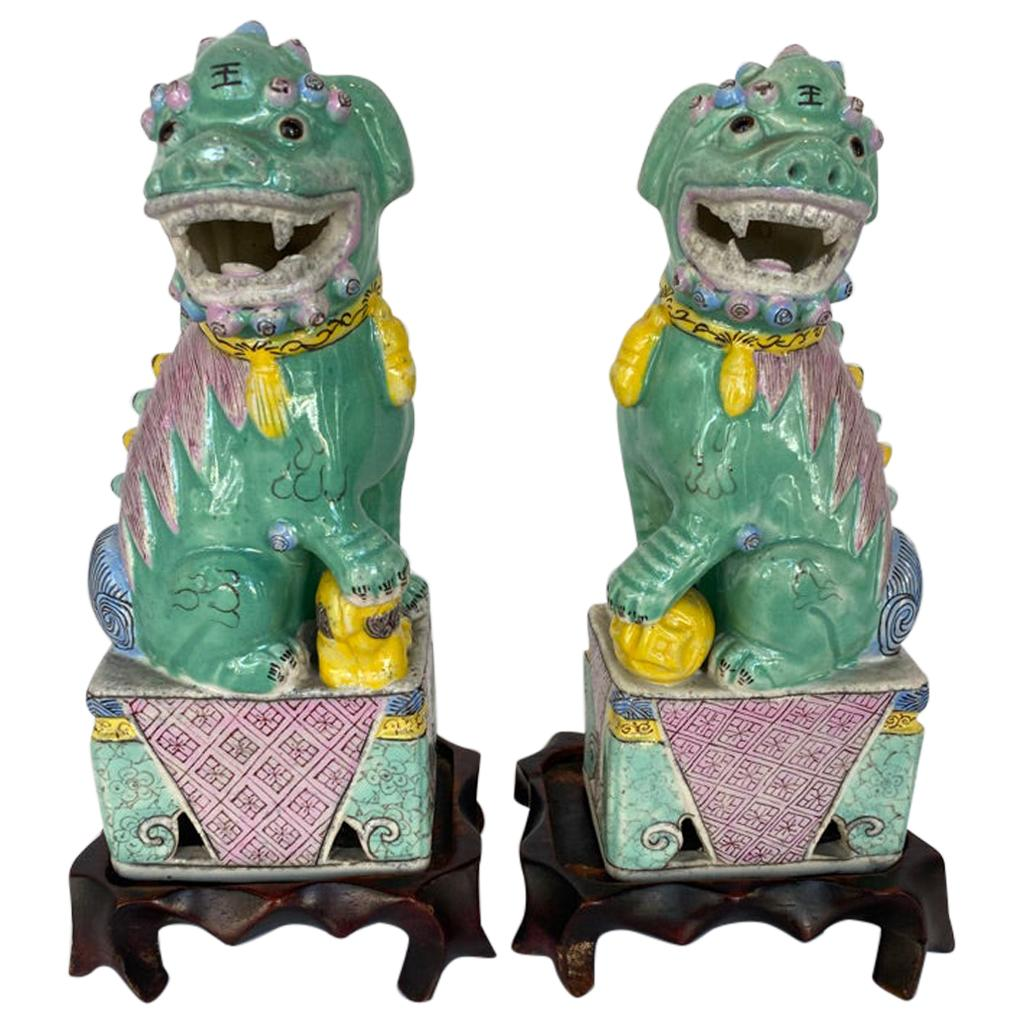 Antique Pair of Chinese Porcelain Famille Rose Foo Dogs