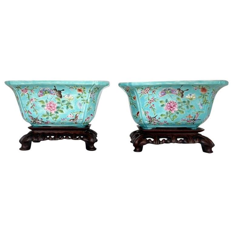 Antique Pair of Chinese Porcelain Jardinières
