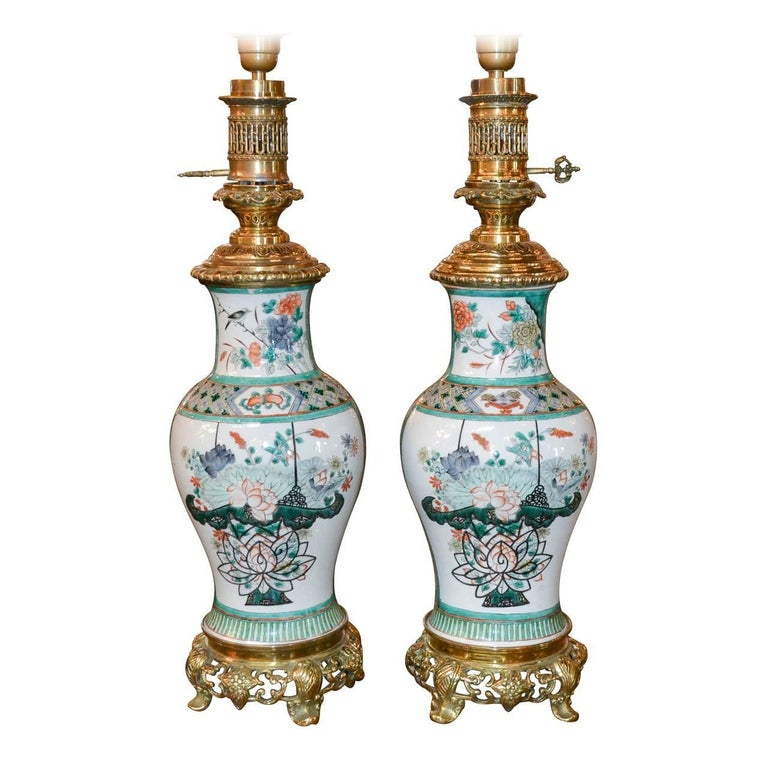 Antique Pair of Chinese Rose Medallion Porcelain Lamps For Sale
