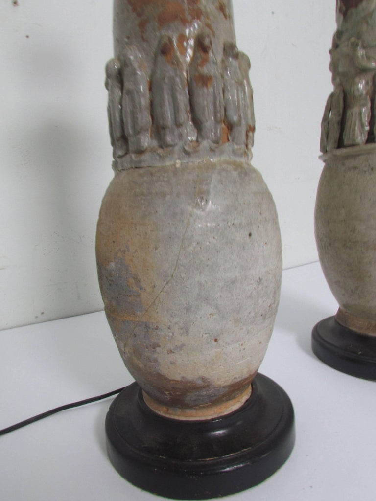18th Century and Earlier Antique Pair of Chinese Yuang Dynasty Celadon Glazed Ceremonial Vases as Lamps For Sale