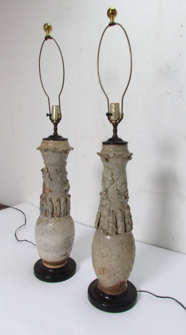 Antique Pair of Chinese Yuang Dynasty Celadon Glazed Ceremonial Vases as Lamps For Sale 2