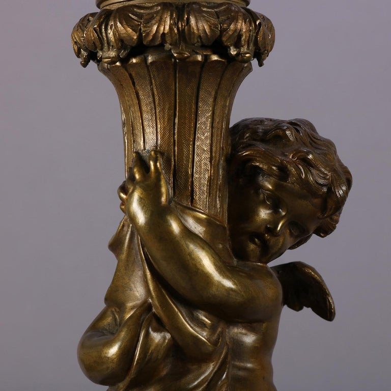 Classical Greek Antique Pair of Classical Bronzed Figural Cherub Dual Light Table Lamp Bases For Sale