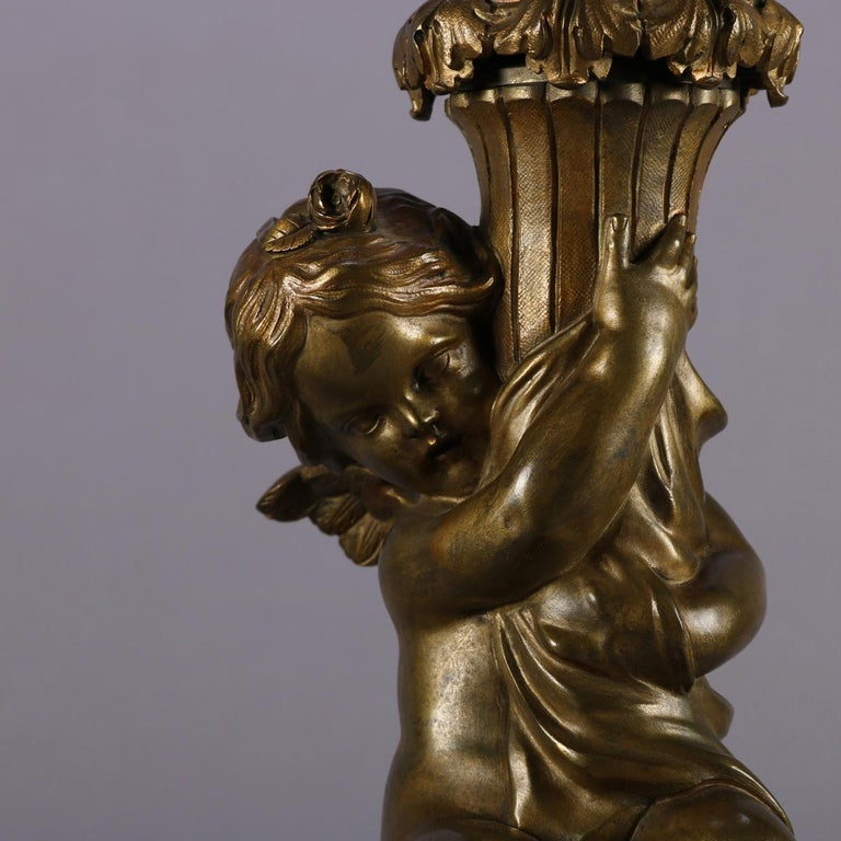 Antique Pair of Classical Bronzed Figural Cherub Dual Light Table Lamp Bases In Good Condition For Sale In Big Flats, NY