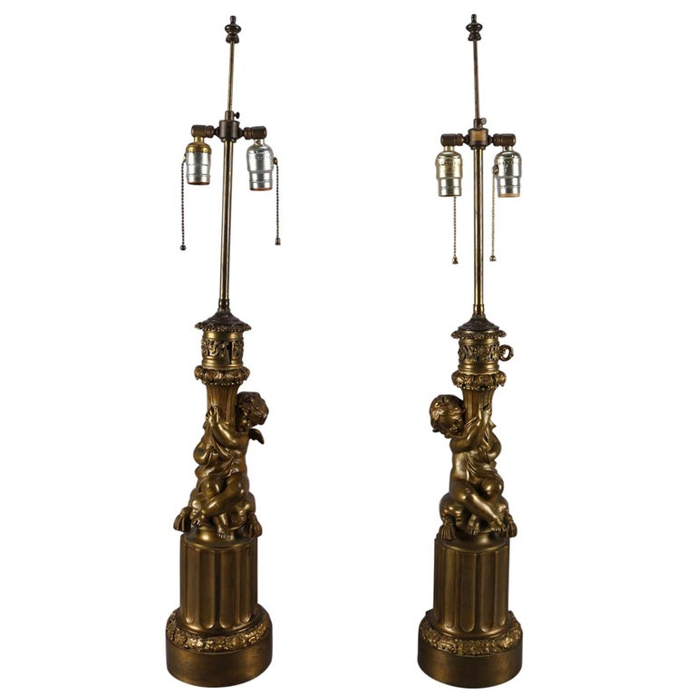 Antique Pair of Classical Bronzed Figural Cherub Dual Light Table Lamp Bases For Sale