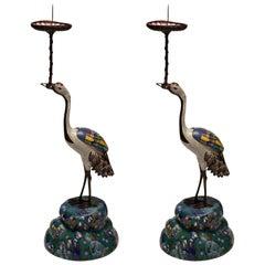 Antique Pair of Cloisonné Cranes