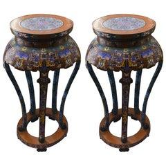 Antique Pair of Cloisonné Tables