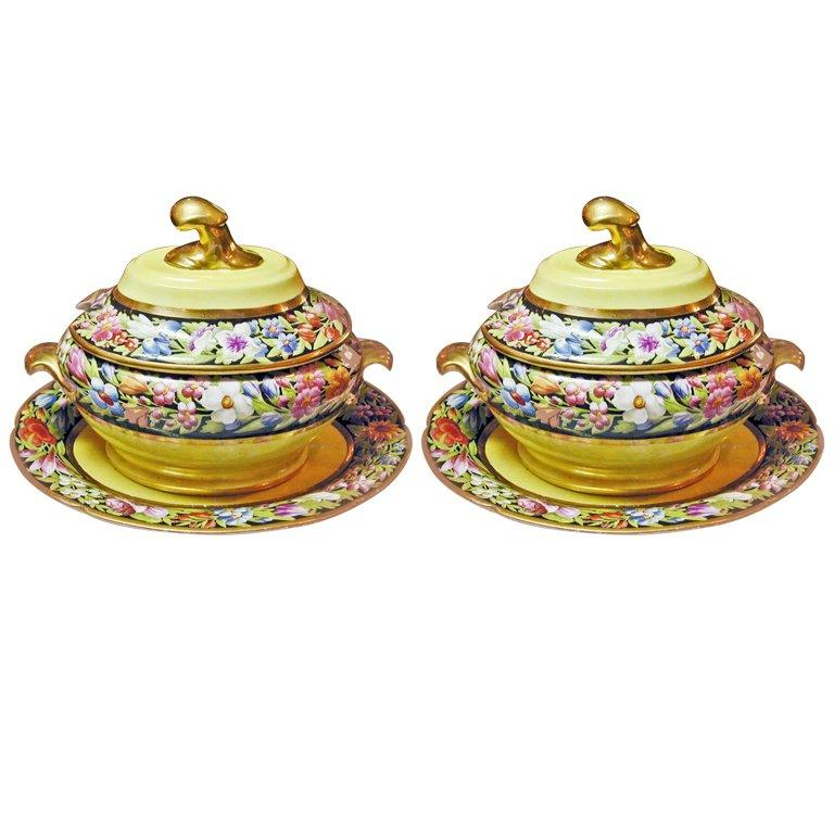 Antique Pair of Coalport Porcelain Sauce Tureens For Sale