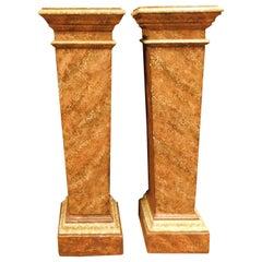 Antique Pair of Columns in Lacquered Imitation Orange Marble, 1800, Italy