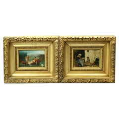 Antique Pair of Continental Oil on Board Intergenerational Genre Scenes, C1890