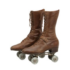 Antique Pair of Dexter, Ladies Roller Skates With Leather Boots