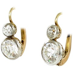 Antique Pair of Diamond Earclips in Silver on Redgold
