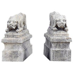 Antique Pair of Dog Statues from France 19th Century