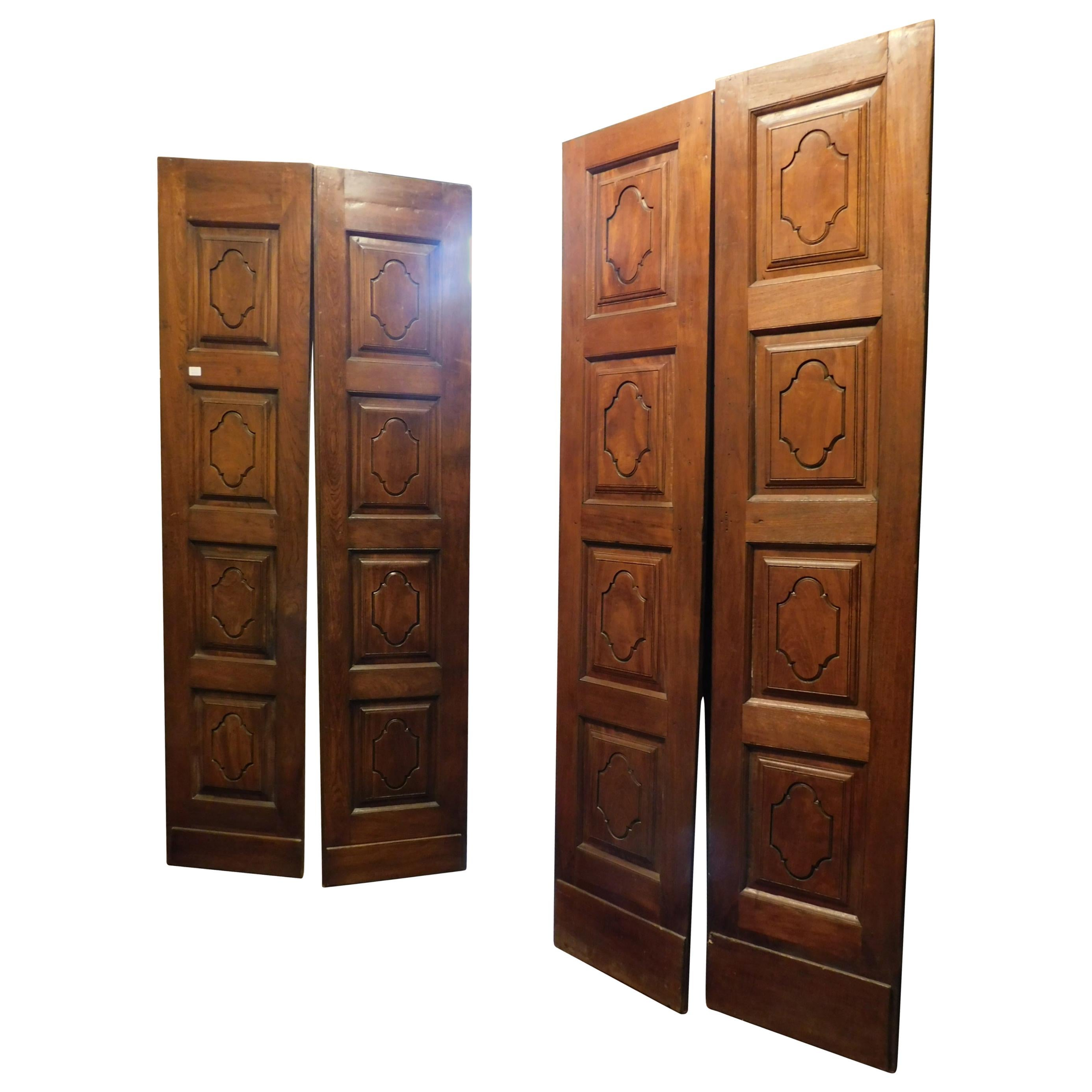 Antique Pair of Double Wing Wood Doors, Carved Front and Behind, 1700, Italy