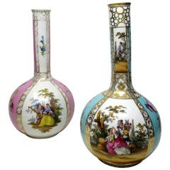 Antique Pair of Dresden Helena Wolfson Hand Painted Bottle Vases Floral Scenes