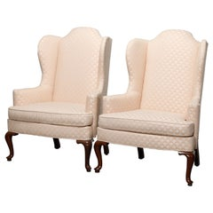 Antique Pair of Drexel Heritage Queen Anne Style Wingback Chairs, 20th Century