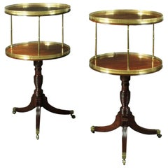 Antique Pair of Dumb Waiters with Brass Pillars and Galleries