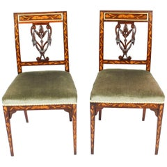 Antique Pair of Dutch Marquetry Side Chairs, 19th Century