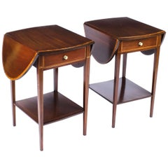 Antique Pair of Edwardian Inlaid Mahogany Bedside Tables, 19th Century