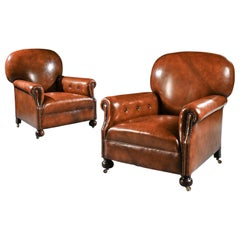 Antique Pair of Edwardian Leather Upholstered Club Armchairs