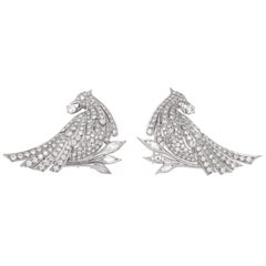 Antique Pair of Edwardian Style Diamond Bird Brooches/ Lapel Clips