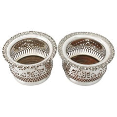 Antique Pair of Electroplated Silver Bottle Coasters, Circa 1940