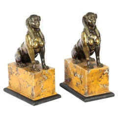 Antique Pair of Empire Egyptian Campaign Bronze Sphinxes, 19th Century