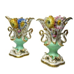 Antique Pair of English Coalport Coalbrookdale Flower Encrusted Gilt Vases Urns