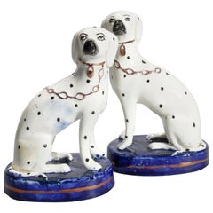 Antique Pair of English Porcelain Staffordshire Dalmatian Dogs, 20th Century