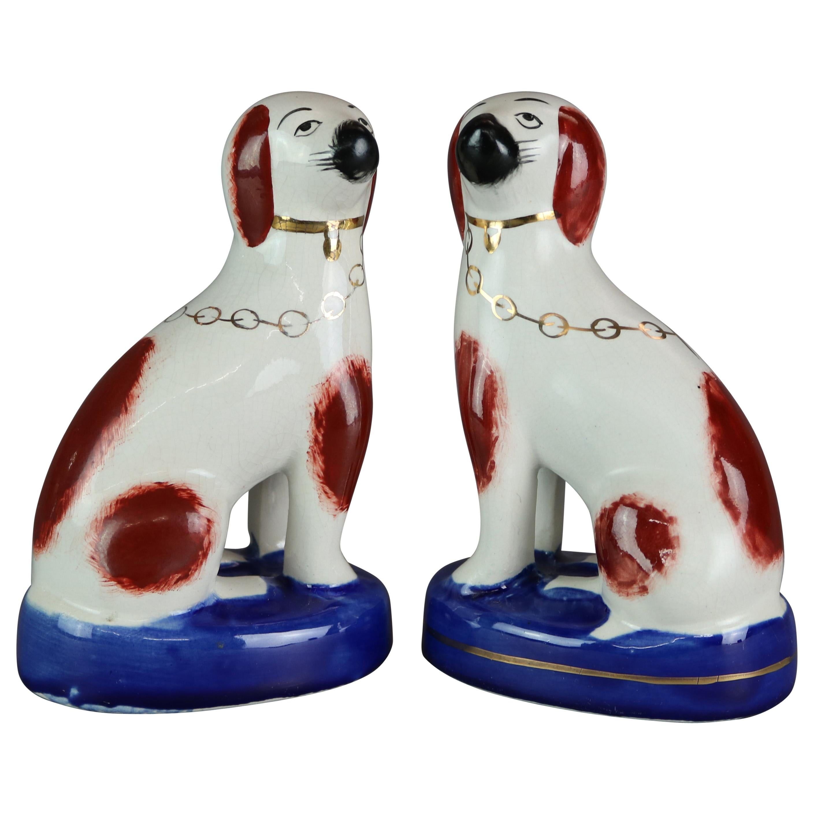 Antique Pair of English Pottery Staffordshire Dogs, Spaniels, circa 1900