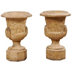 Antique Pair of English Terracotta Urns Adorn in Winged Griffins & Foliage Motif