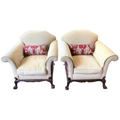Antique Pair of English Upholstered Club Chairs