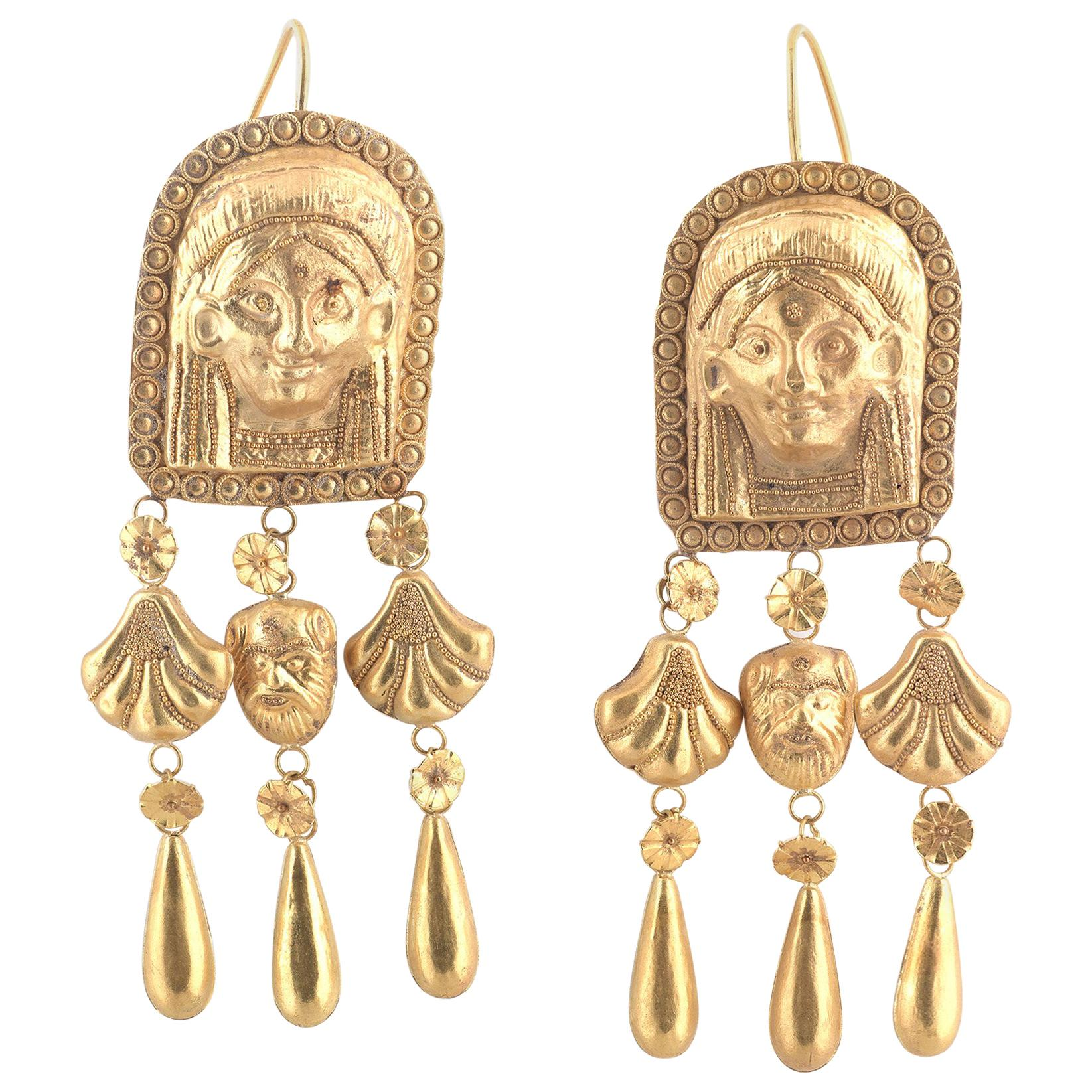 Victorian Etruscan Revival Gold Earrings Italy 19th Century