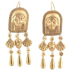 Antique Pair of Etruscan Revival Long Earrings