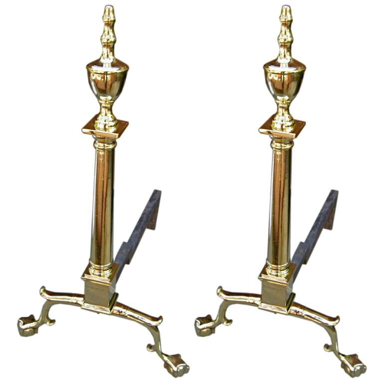 Antique Pair of Federal Andirons For Sale