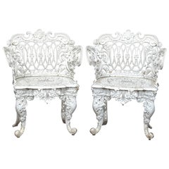 Antique Pair of Figural Cast Iron Victorian Garden Chairs, Painted White